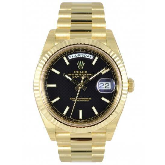Rolex Day Date Black/ Index Yellow Gold 228238