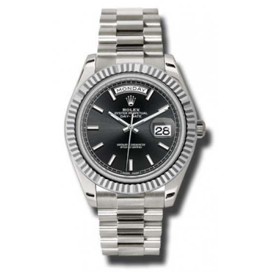 Rolex Day Date Black/ Index White Gold 228239