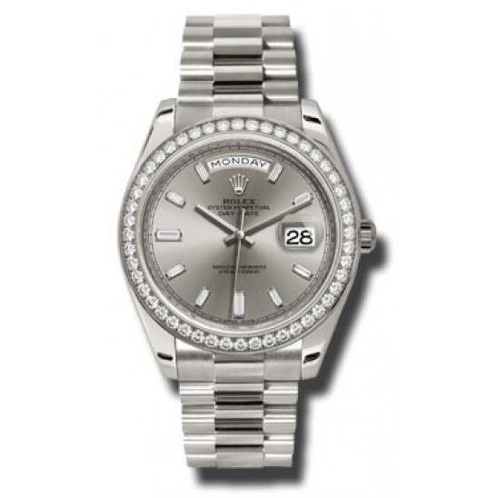 Rolex Day Date Silver Dial White Gold 228349RBR