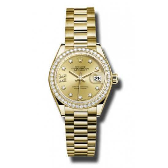 Rolex Lady Datejust 28 Yellow Gold Champagne/ DMD President 279138RBR