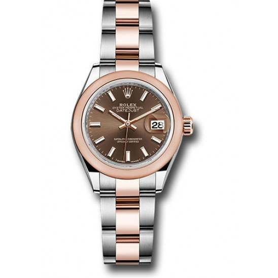 Rolex Lady Datejust 28 Steel&Gold Chocolate/ Index Oyster 279161