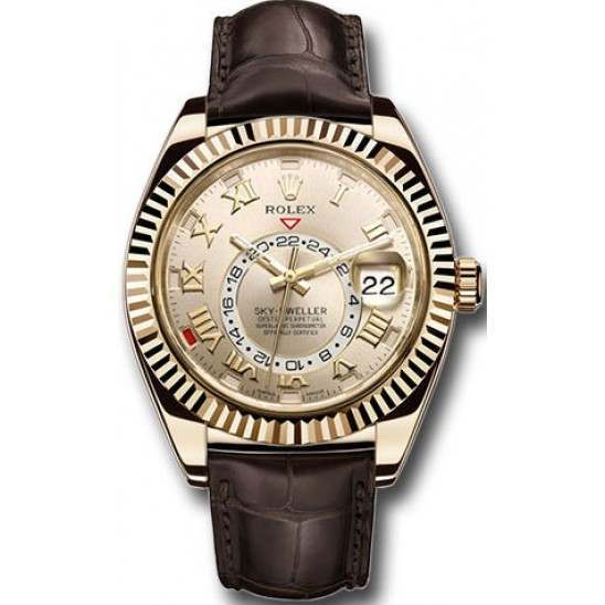 Rolex Sky-Dweller Yellow Gold Champagne Arab Leather 326138