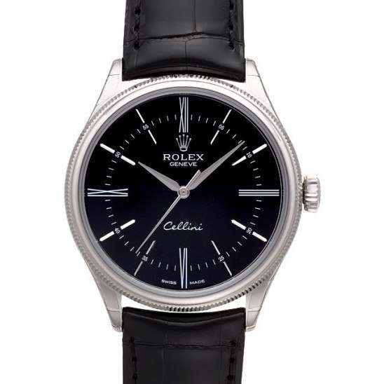 Rolex Cellini Time Black/Hour Markers Leather 50509