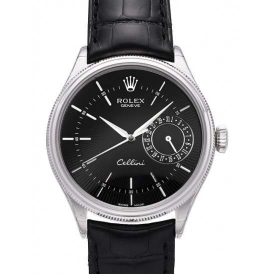 Rolex Cellini Date Black Guilloche/Hour Markers Leather 50519