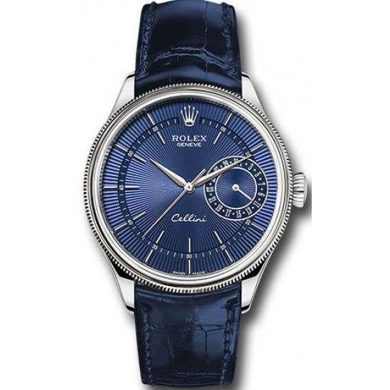Rolex Cellini Date Blue Guilloche Dial Leather Strap 50519