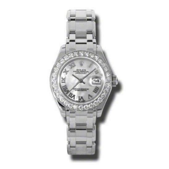 Rolex Pearlmaster Lady White mop Roman 80299