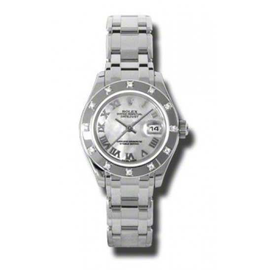 Rolex Lady Pearlmaster White mop Roman 80319