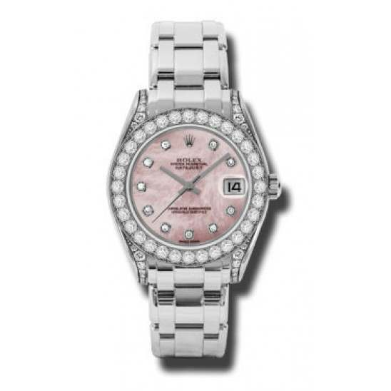 Rolex Pearlmaster 34mm White Gold Pink mop/diamond 81159