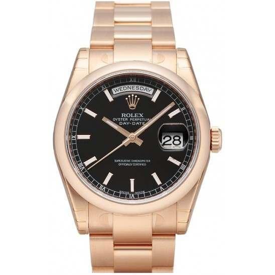 Rolex Day-Date Black/index Oyster 118205