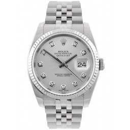 Rolex Datejust Silver/ Diamond Dial Jubilee Bracelet 116234