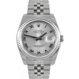 Rolex Datejust Rhodium Roman Dial Jubilee Bracelet 116234