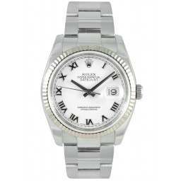 Rolex Datejust White Roman Dial Oyster Bracelet 116234