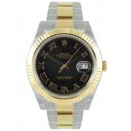 Rolex Datejust II Black Roman Oyster 116333