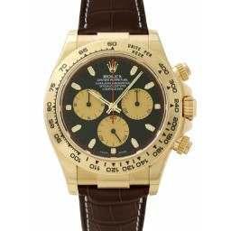 Rolex Daytona Yellow Gold Black-Champagne/index Leather 116518