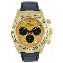 Rolex Daytona Yellow Gold Champagne-Black/index Leather 116518