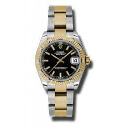 Rolex Datejust 31mm Steel & Yellow Gold Black/index Oyster 178313