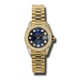 Rolex Lady Datejust Yellow Gold Blue/diamond President DMD 179158