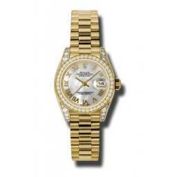 Rolex Lady Datejust Yellow Gold White mop Roman President 179158