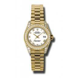 Rolex Lady Datejust Yellow Gold White Roman President 179158