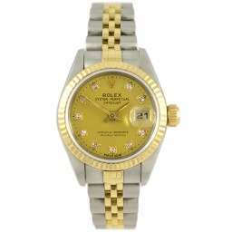 Rolex Lady DateJust Steel & Gold Champagne Diamond Dial - 79173