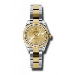Rolex Lady-Datejust Champagne/index Oyster 179173