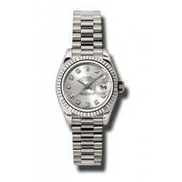 Rolex Lady-Datejust Silver/Diamond President 179179