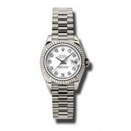 Rolex Lady-Datejust White/Diamond President 179179