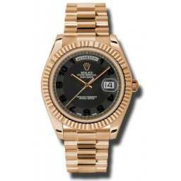 Rolex Day-Date II Black Arab Concentric President 218235