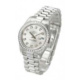 Rolex Lady-Datejust Silver/Diamond President 179136